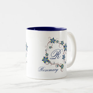Blue Flower Frame & Monogram Two-Tone Coffee Mug