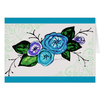 Blue Flower Greetings Card
