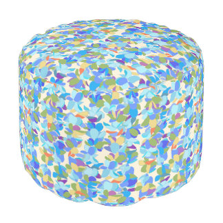 Blue Flower Lei Cotton Round Pouf