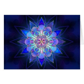 Blue Flower Mandala Fractal Card