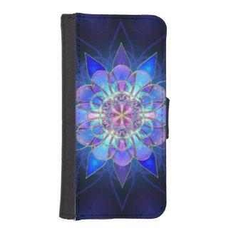 Blue Flower Mandala Fractal iPhone 5 Wallet Cases