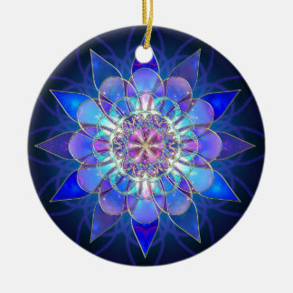 Blue Flower Mandala Fractal Round Ceramic Decoration