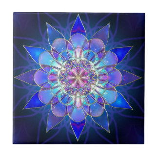 Blue Flower Mandala Fractal Ceramic Tile