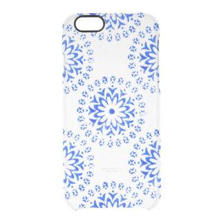 Blue Flower Mandalas Round Motif Design 1 + add Clear iPhone 6/6S Case