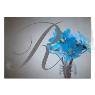 Blue Flower Monogram Notecard