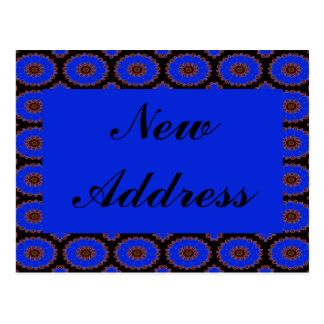 blue flower new address post card
