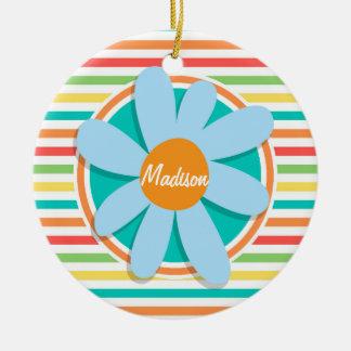 Blue Flower on Bright Rainbow Stripes Christmas Tree Ornament