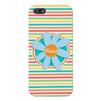 Blue Flower on Bright Rainbow Stripes Cover For iPhone 5/5S