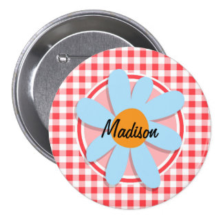 Blue Flower on Red and White Gingham Pins