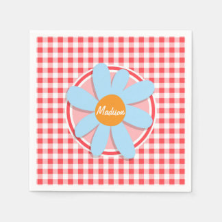 Blue Flower on Red and White Gingham Disposable Napkin