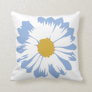 Blue Flower on White Pillow Cushion