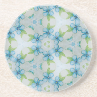 blue flower  Pansy pattern Coaster