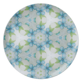blue flower  Pansy pattern Plate