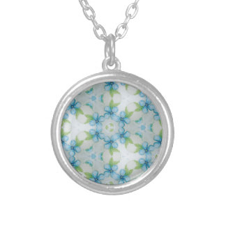 blue flower  Pansy pattern Silver Plated Necklace