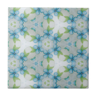 blue flower  Pansy pattern Small Square Tile