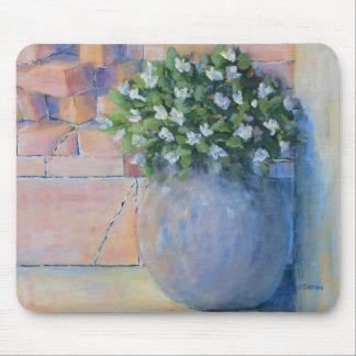 Blue Flower Pot Mouse Pad