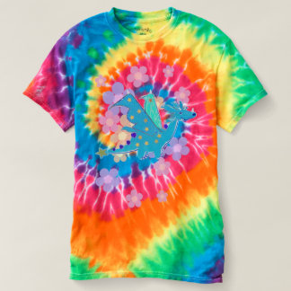 Blue Flower Power Dragon Tye-Dye T-Shirt