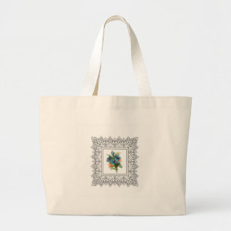 blue flower power large tote bag