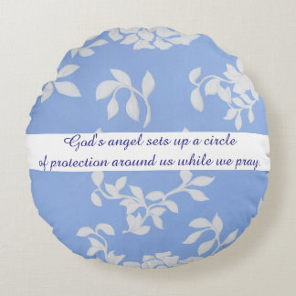 Blue Flower Psalm 34:7 Designer Round Pillow