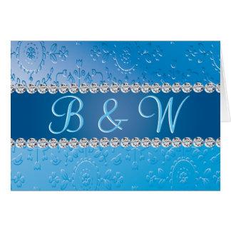 Blue Flower Retro Embossed Anniversary Monogram Card
