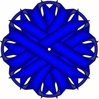 Blue Flower Ribbon Photo Sculpture Key Ring
