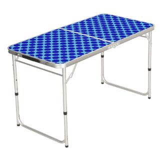 Blue Flower Ribbon Pong Table