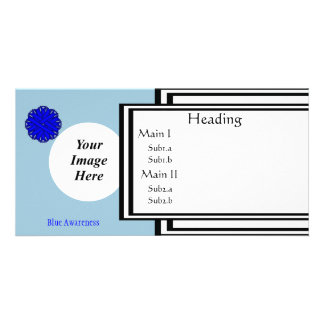 Blue Flower Ribbon Template Photo Cards