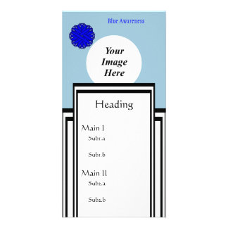 Blue Flower Ribbon Template Photo Greeting Card