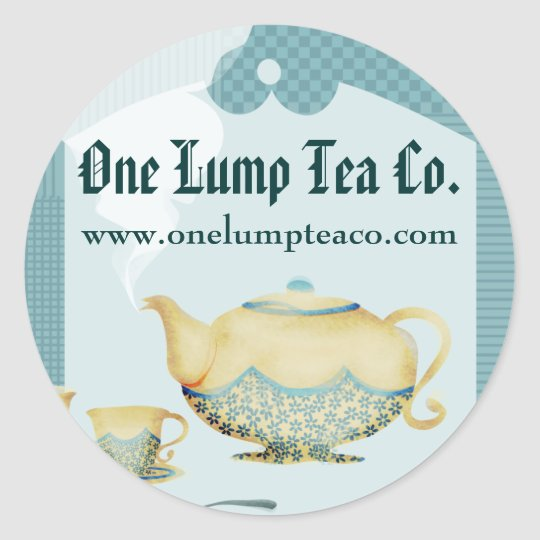 Blue flower teapot and teacups gift tag sticker