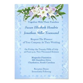 "Blue Flower Wedding Invitation 5"" X 7"" Invitation Card"