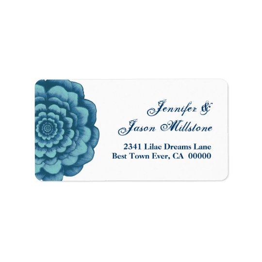 Blue Flower Wedding Label