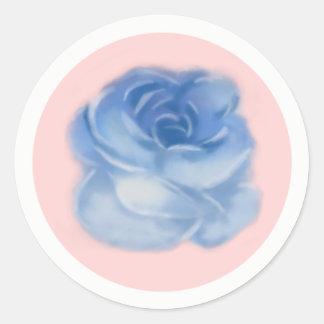 Blue flower with pink background sticker