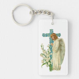 Blue Flowered Christian Cross Double-Sided Rectangular Acrylic Key Ring