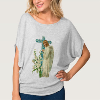 Blue Flowered Christian Cross T-Shirt