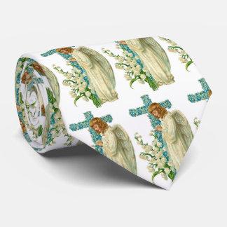 Blue Flowered Christian Cross Tie