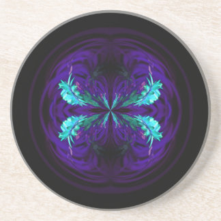 Blue flowered globe abstract beverage coasters