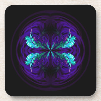 Blue flowered globe abstract drink coasters