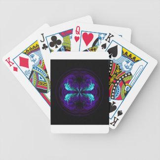 Blue flowered globe abstract poker deck