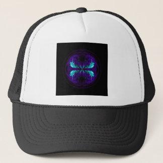 Blue flowered globe abstract trucker hat