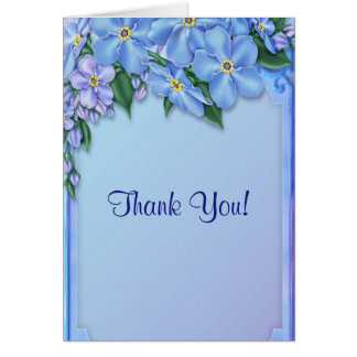 Blue Flowers All Ocassion Thank You Note Greeting Card