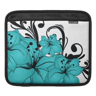 Blue Flowers and Black Scrolls on White iPad Sleeve