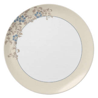 Blue flowers and cream border party plates