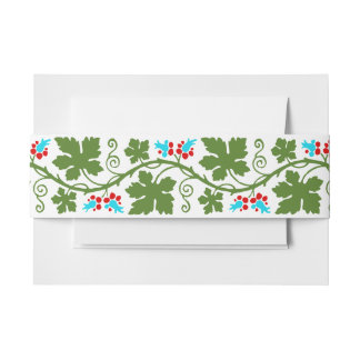 Blue Flowers and Vines Invitation Belly Band