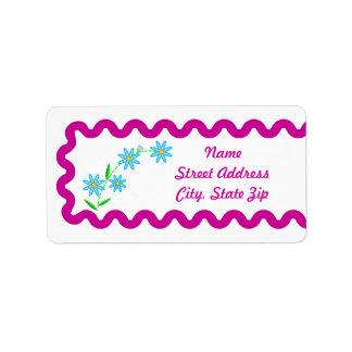 Blue Flowers  Background Address Sticker Address Label