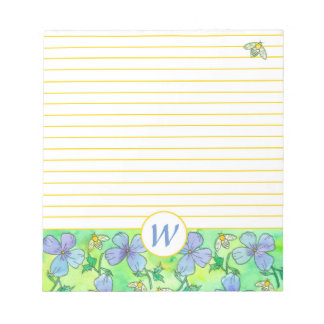 Blue Flowers Bees Monogram Yellow Lined Notepad