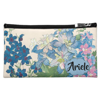 Blue Flowers Best Bridesmaid's Gift Cosmetic Bag