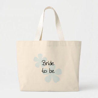 Blue Flowers Bride to Be Large Tote Bag