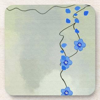 blue flowers Cork Coaster