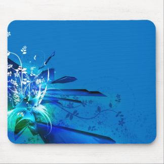 Blue flowers design mouse pad