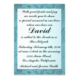 Blue Flowers Frame Bar Mitzvah/Birthday Invitation